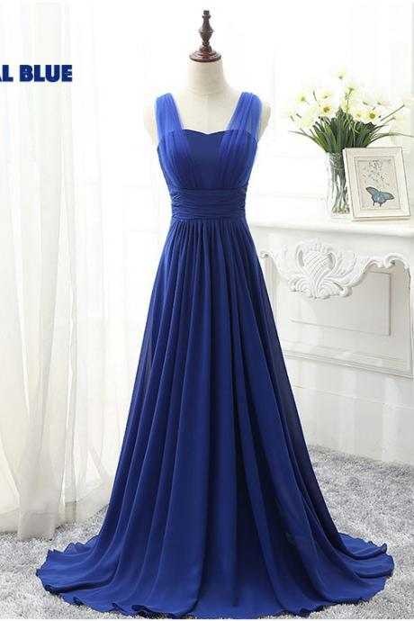royal blue prom dresses, long bridesmaid dresses, pleats bridesmaid dresses, royal blue bridesmaid dresses, chiffon evening dresses, royal blue formal dresses, 2020 bridesmaid dresses, evening dresses, party dresses