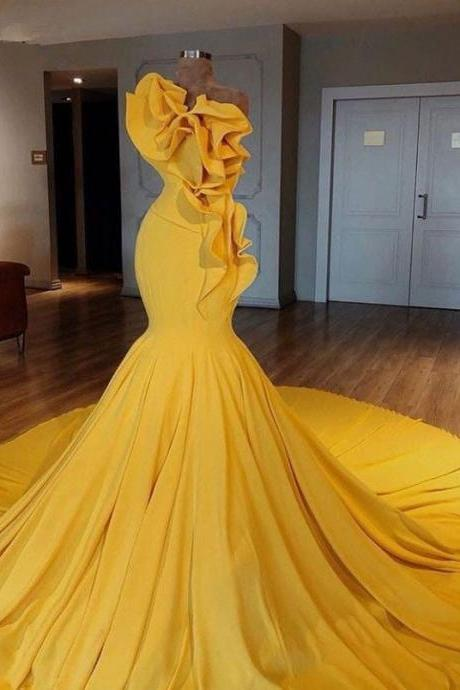 yellow prom dresses, one shoulder prom dresses, mermaid party dresses, sexy evening dresses, long evening dresses, yellow evening dresses, cheap formal dresses, sexy evening dresses