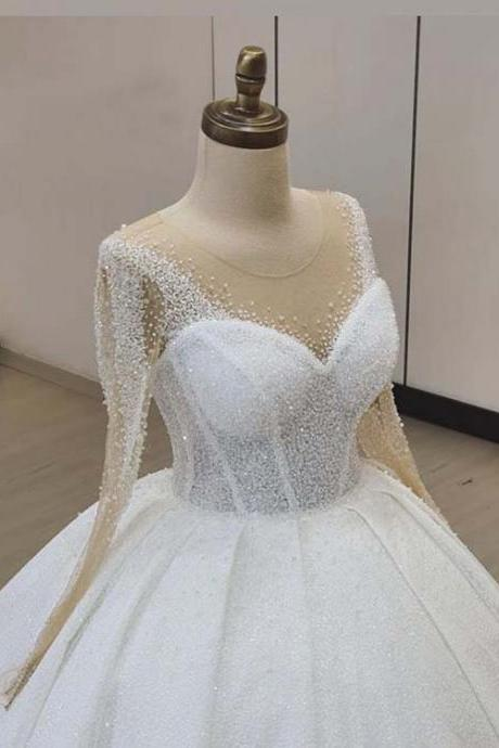 crystal wedding dress, sheer wedding dress, beaded wedding dress, new arrival wedding dress, luxury wedding dress, fashion bridal dress, long sleeve wedding dresses, luxury wedding dress, crystal wedding gowns