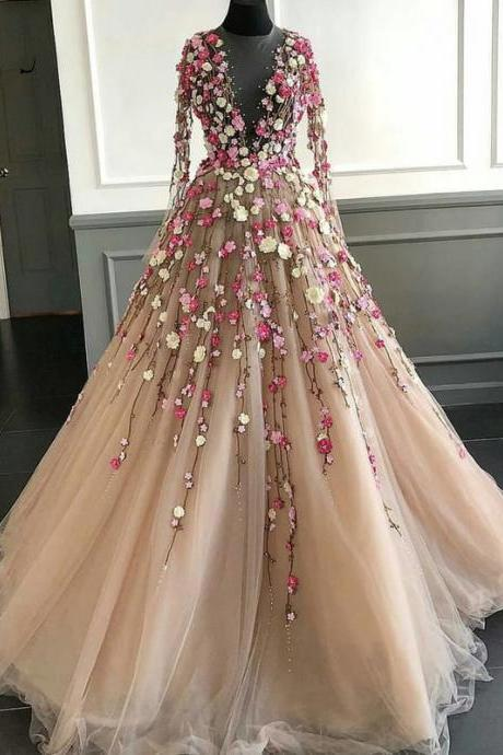 flowers prom dresses, champagne prom dreses, long sleeve prom dresses, ball gown evening dresses, luxury prom dresses, embroidery prom dresses, flowers evening dress, 3d flowers prom dresses