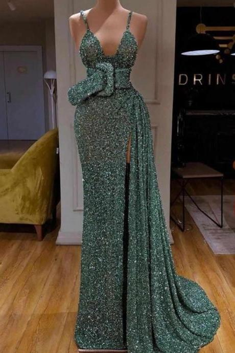 shinning prom dresses, 2020 prom dresses, mermaid formal dresses, side slit evening dresses, green prom dresses, shinning formal dresses, arabic evening dresses, new arrival evening dresses, mermaid party dresses, green evening gowns