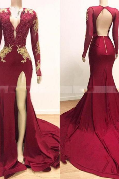 lace prom dresses, 2020 prom dresses, long sleeve prom dresses, mermaid prom dresses, formal dresses, 2020 evening gowns, arabic party dresses, side slit prom dresses, mermaid evening dresses, burgundy prom dresses