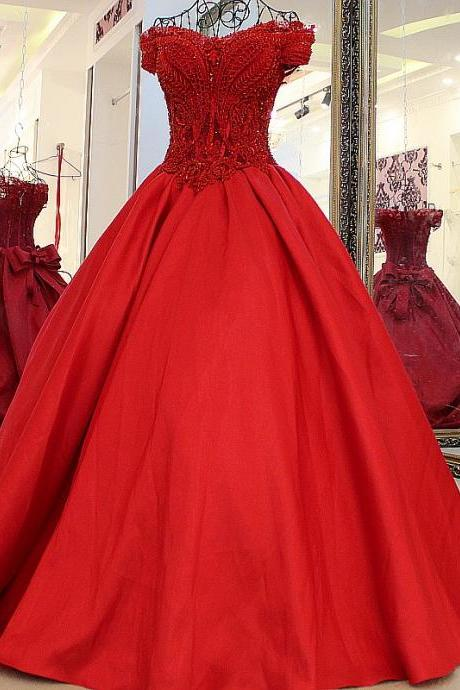 red prom dresses, lace prom dresses, ball gown prom dress, pearls prom dresses, satin formal dresses, red evening dresses, ball gown evening dresses, 2020 evening dresses, new arrival formal dresses, 2020 formal dresses, sexy evening dresses