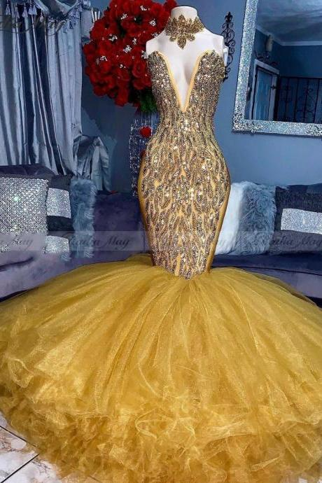 yellow prom dresses, mermaid evening dresses, crystal prom dresses, deep v neck formal dresses, arabic evening dresses, lace evening dresses, custom make party dresses, arabic evening dress, cheap party dresses, sexy evening dress, yellow evening gowns