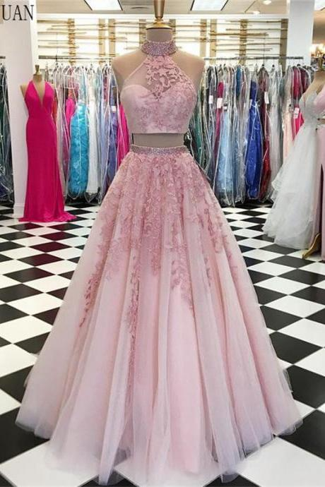 two pieces prom dresses, halter prom dresses, tulle formal dresses, lace evening dresses, pink evening dresses, lace party dress, arabic evening gowns, new arrival prom dresses, 2020 prom dresses, custom make evening dresses, fashion evening dress