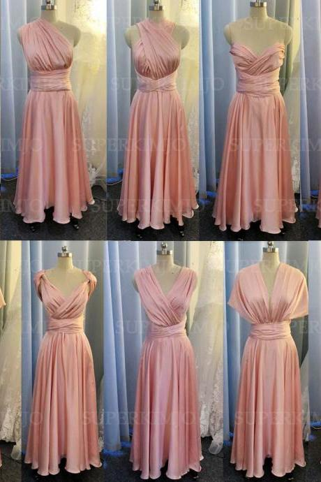 pink bridesmaid dress, convertible bridemsaid dress, chiffon bridesmaid dress, long bridesmaid dress, custom make bridesmaid dress, cheap bridesmaid dresses,new arrival bridesmaid dress, 2020 bridesmaid dresses, sexy bridesmaid dress