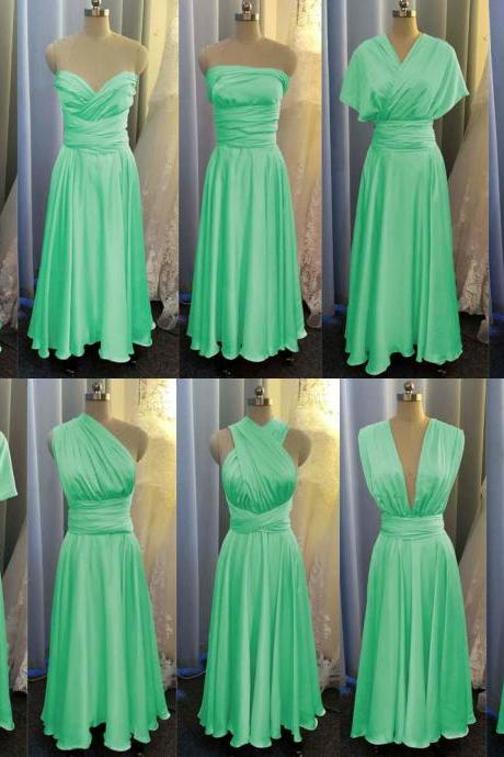 mint green bridesmaid dress, convertible bridemsaid dress, chiffon bridesmaid dress, long bridesmaid dress, custom make bridesmaid dress, cheap bridesmaid dresses,new arrival bridesmaid dress, 2020 bridesmaid dresses, sexy bridesmaid dress