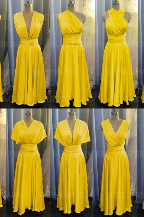 yellow bridesmaid dress, convertible bridemsaid dress, chiffon bridesmaid dress, long bridesmaid dress, custom make bridesmaid dress, cheap bridesmaid dresses,new arrival bridesmaid dress, 2020 bridesmaid dresses, sexy bridesmaid dress