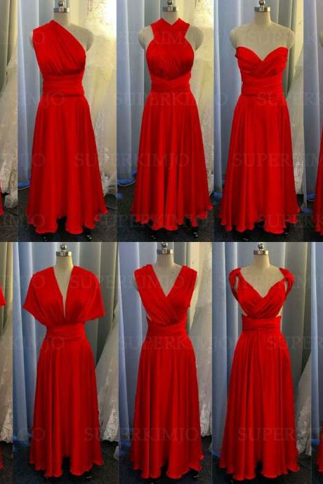 red bridesmaid dress, convertible bridemsaid dress, chiffon bridesmaid dress, long bridesmaid dress, custom make bridesmaid dress, cheap bridesmaid dresses,new arrival bridesmaid dress, 2020 bridesmaid dresses, sexy bridesmaid dress