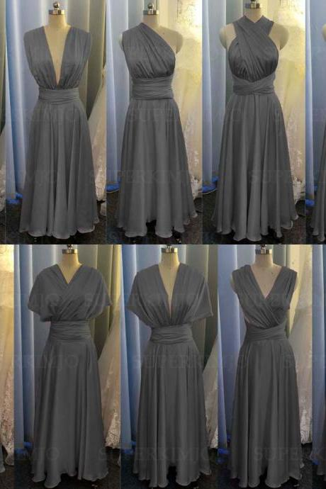 grey bridesmaid dress, sliver evening dresses, chiffon wedding party dresses, evening gowns, convertible bridemsaid dress, chiffon bridesmaid dress, long bridesmaid dress, custom make bridesmaid dress, cheap bridesmaid dresses,new arrival bridesmaid dress, 2020 bridesmaid dresses, sexy bridesmaid dress