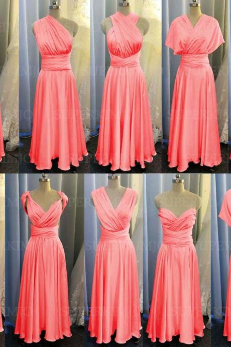 coral bridesmaid dress, coral evening dresses, chiffon wedding party dresses, evening gowns, convertible bridemsaid dress, chiffon bridesmaid dress, long bridesmaid dress, custom make bridesmaid dress, cheap bridesmaid dresses,new arrival bridesmaid dress, 2020 bridesmaid dresses, sexy bridesmaid dress