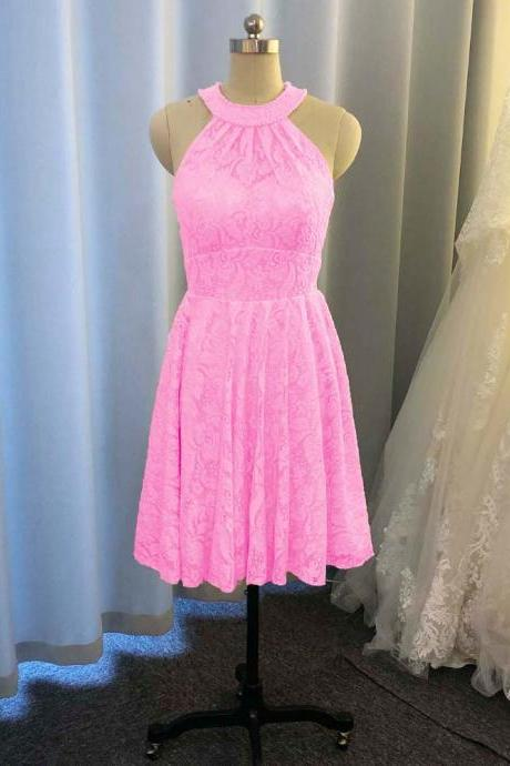 pink bridesmaid dresses, lace bridesmaid dresses, short bridesmaid dresses, halter bridesmaid dresses, new arrival bridesmaid dresses, mini bridesmaid dresses, fashion bridesmaid dresses, pink evening dress, evening gowns