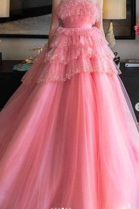 pink prom dresses 2021, tiered prom dresses, pink evening dresses, lace prom dresses, pink evening dresses, cheap prom dresses, pink party dresses, newest prom dresses, lace evening dresses, custom make evening gowns, 2021 prom dresses