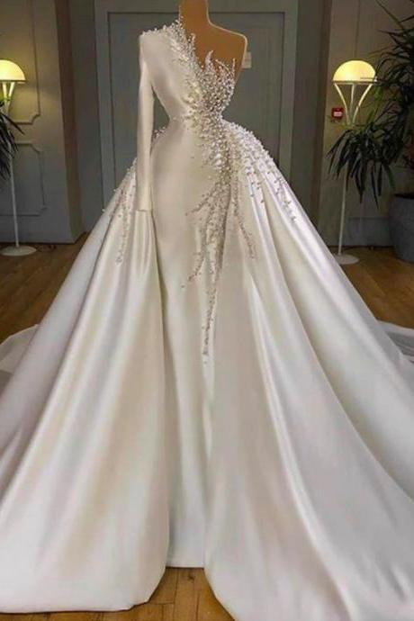 white prom dresses, lace prom dresses, pearls prom dresses, detachable prom dresses, white evening dresses, 2021 evening dresses, satin evening dresses, new arrival evening dresses, custom make formal dresses, 2021 party dresses