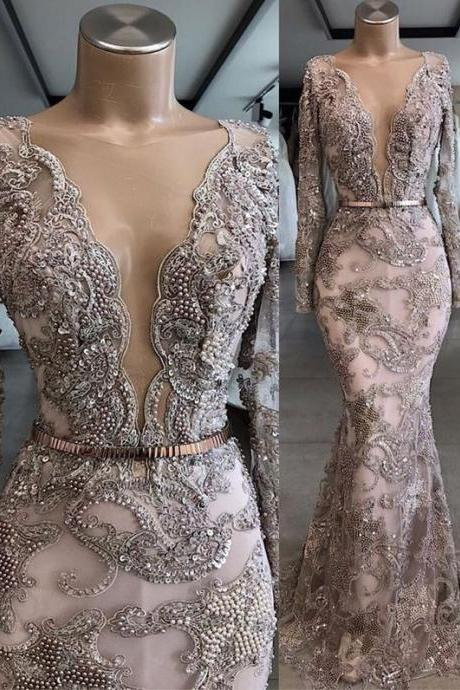 lace prom dresses, beaded prom dresses, pearls prom dresses, deep v neck prom dresses, long sleeve prom dresses, custom make prom dresses, mermaid evening dresses, mermaid prom dresses, deep v neck evening dresses, beaded evening dresses