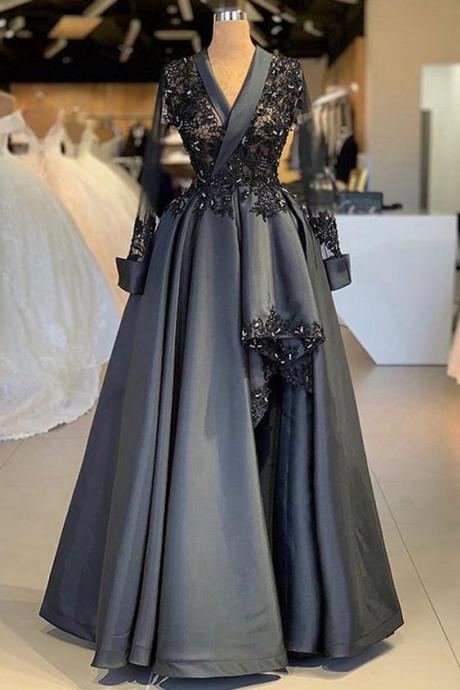grey prom dresses 2021, lace prom dresses, ball gown party dresses, pearls prom dresses, long sleeve prom dresses, satin prom dresses, arabic prom dresses, evening dresses, 2021 prom dresses, cheap party dresses