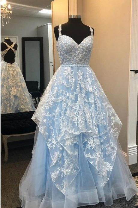 blue prom dress, 2021 prom dress, lace evening dresses, sweetheart prom dress, lace evening dress, blue party dresses, evening dresses, light sky blue evening dresses, 2021 evening dresses, cheap evening dresses