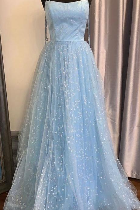 sparkly prom dresses, square neckline prom dresses, sequins evening dresses, a line prom dresses, shinning evening dresses, fashion party dresses, blue evening dress, light sky blue evening dresses