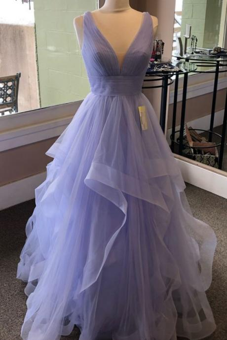 purple prom dresses, 2021 v neck prom dresses, ruffle prom dress, ball gown evening dress, tulle evening dress, elegant prom dress, sex prom dress, cheap prom dresses, purple party dress, cheap evening dresses