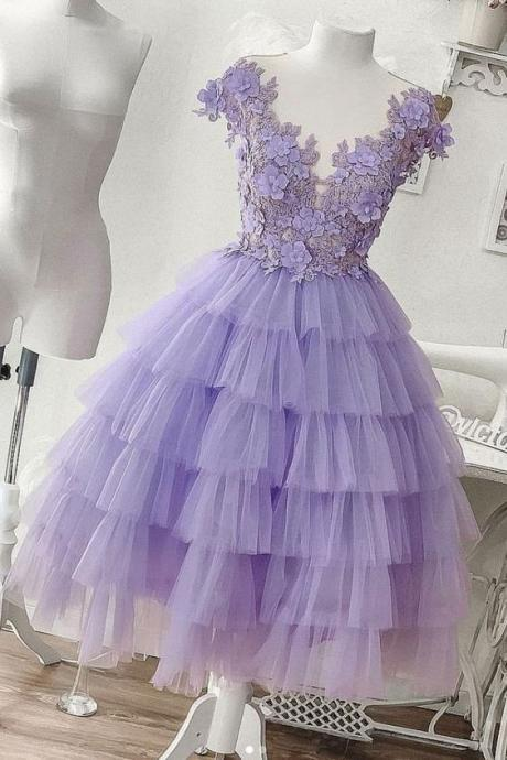 pruple prom dress, tiered prom dresses, sheer crew prom dresses, lace prom dresses, ruffle prom dresses, tiered prom dresses, short prom dresses, lace evening dresses, short evening dress, mini prom dress, custom make prom dress, purple evening gowns