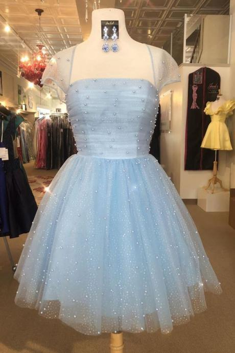 blue prom dresses, pearls prom dresses, pleats prom dresses, short prom dresses, cap sleeve prom dresses, beaded prom dresses, pearls evening dresses, tulle evening dresses, 2021 formal dresses, tulle evening gowns, cheap evening dresses, 2021 party dresses
