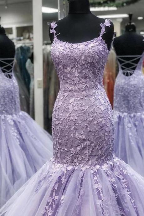 mermaid prom dresses, purple prom dresses, lace prom dresses, mermaid evening dresses, square neck prom dresses, cheap party dresses, new arrival party dresses, 2021 fashion dress, sexy formla dresses