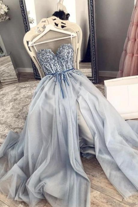 blue prom dresses, beaded prom dresses, pearls prom dresses, a line prom dress, crystal evening dresses, 2021 evening dresses, 2021 party dresses, 2021 prom dress, beaded formal dress, tulle evening dresses