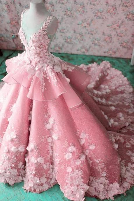 pink prom dresses, ball gown prom dresses, hand made flowers prom dresses, pink evening dresses, ball gown party dresses. sexy evening dress, flowers formal dress, lace evening dresses