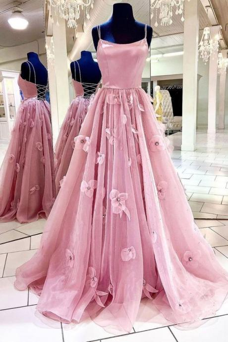 pink prom dresses, flowers prom dresses, tulle prom dresses, a line prom dresses, hand made flowers prom dress, arabic prom dresses, cheap prom dresses, lace evening dresses, flowers party dresses, cheap evening dresses