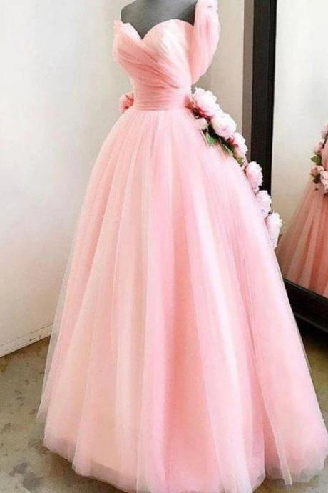 pink prom dreses, 2021 prom dresses, pleats prom dresses, tulle prom dresses, hand made flowers prom dress, a line prom dresses, new arrival prom dresses, cheap evening dresses, fashion evening dress, tulle evening dresses