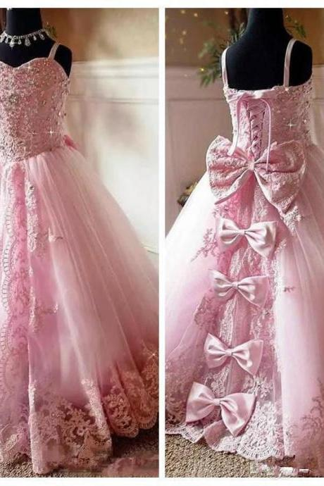 pink flower girls dresses, lace flower girls dress, beaded flower girls dress, tulle flower girls dresses, ball gown girls pageant dresses, party dresses, bowknot little girls party dresses, lace flowers girls dress, pink girls pageant dresses