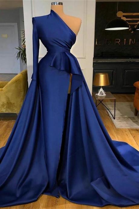 royal blue prom dresses, 2021 prom dresses, satin evening dresses, cheap evening dresses, detachable prom dresses, arabic prom dresses, sexy evening dresses, fashion evening dresses, custom make prom dress, 2021 formal dresses