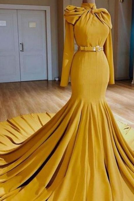 yellow prom dress, 2021 prom dresses, high neck prom dresses, long sleeve prom dresses, court train prom dress, high neck evening dresses, cheap formal dresses, fashion party dresses, new arrival evening gowns, sexy formal dress, 2021 prom gowns