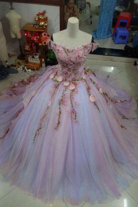 crystal prom dresses, light purple prom dresses, evening dresses, hand made flowrs prom dresses, ball gown prom dresses, cheap prom dresses, fashion prom dresses, tulle prom dresses, sexy prom dresses, flowers prom dresses, beaded prom dresses