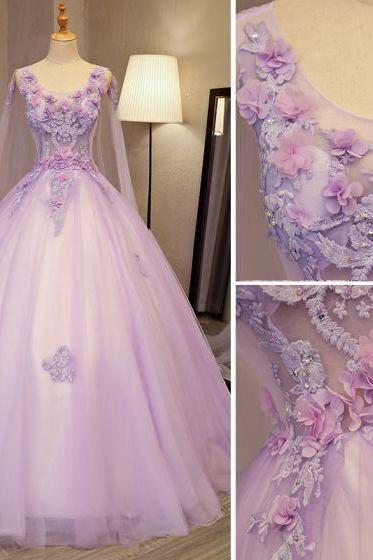 tulle prom dresses, 2021 prom dresses, ball gown evening dresses, sexy evening dresses, fashion evening dresses, hand made flowers prom dresses, scoop neckline prom dresses, 2021 evening gowns