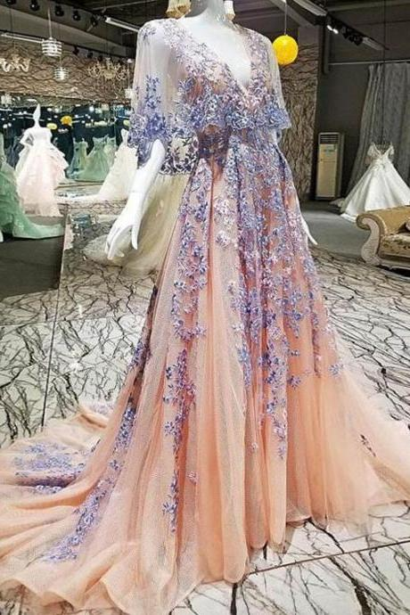 lace prom dresses 2021, v neck prom dress, coral prom dress, tulle prom dresses, evening dresses, sexy evening dress, lace party dresses, custom make prom dress, a line evening dress, 2021 prom gowns