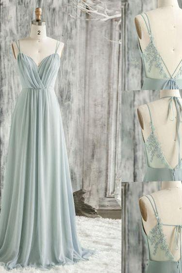 mint green bridesmaid dress, lace bridesmaid dress, backless bridesmaid dress, chiffon bridesmaid dress, floor length bridesmaid dress, long bridesmaid dress, custom make bridesmaid drss, chiffon bridesmaid dress, fashion bridesmaid dress
