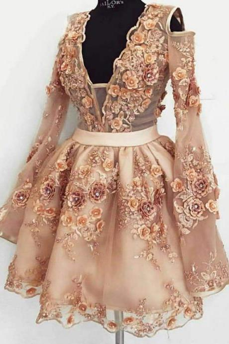 champagne prom dresses, short prom dresses, lace appliques prom dresses, flowers prom dresses, lace evening dresses, fashion party dresses, evening dress, new arrival party dress, homecoming dresses, cocktail dresses