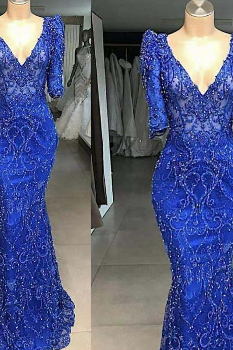 lace prom dress, royal blue prom dress, long sleeve prom dresses, mermaid prom dresses, cheap prom dresses, fashion prom dresses, new arrival evening dresses, cheap evening gowns, sexy prom dresses, lace formal dresses