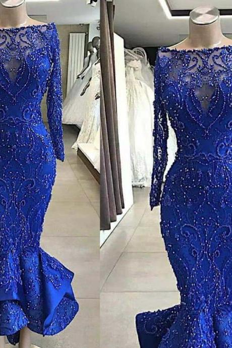 mermaid prom dresses, pearls prom dresses, mermaid evening dresses, royal blue prom dresses, sexy evening dresses, cheap party dresses, custom make evening dresses, long sleeve party dresses, cheap evening dress