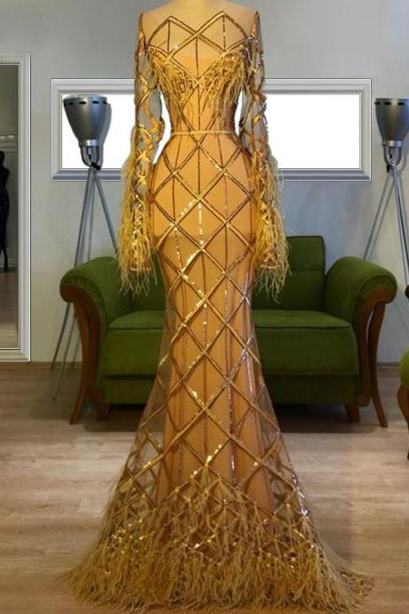 mermaid prom dress, gold prom dress, black evening dress, long sleeve prom dress, fashion evening dress, 2021 prom dresses, 2021 evening gowns, new arrival prom dress, lace evening dress, sequins prom dress