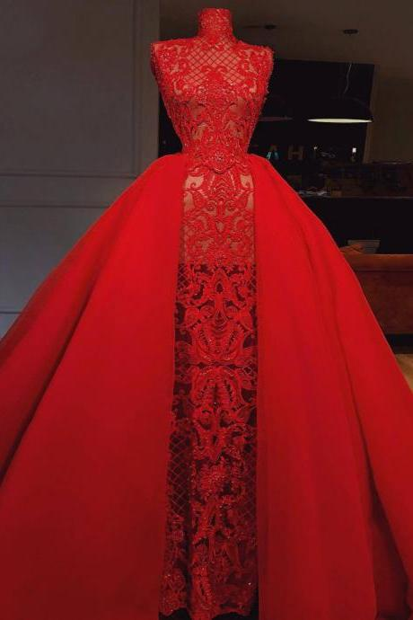 red prom dress, high neck prom dress, lace prom dress, detachable skirt prom dress, tulle evening dress, ball gown prom dress, evening gowns, 2021 formal dress, cheap prom dresses, new arrival party dress