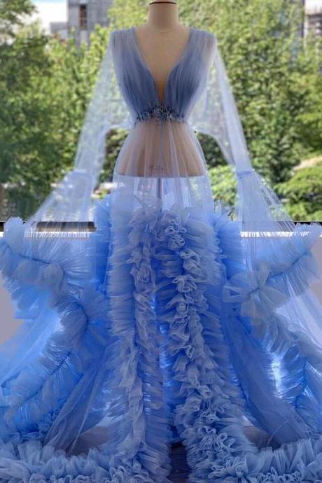 blue prom dress, sexy evening dress, deep v neck prom dress, tulle evening dress, long sleeve prom dress, a line prom dress, fashion evening dress, custom make evening gowns, 2021 evening dress, sexy formal dresses