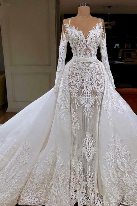 lace wedding dress, detachable wedding dresses, vintage wedding dress, long sleeve wedding dress, ivory bridal dresses, elegant wedding dresses, 2021 wedding dresses, sexy wedding dress