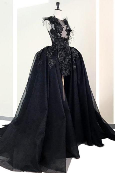 black prom dresses, detachable skirt prom dresses, feather prom dresses, sexy evening dresses, cheap evening dresses, fashion prom dress, lace evening dresses, custom make evening gowns, new arrival prom dresses
