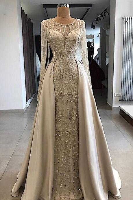 crystal prom dresses, 2021 prom dresses, detachable skirt prom dresses, beaded evening dresses, fashion formal dresses, arabic evening gowns. sexy prom dresses, 2021 prom dresses, champagne prom dresses