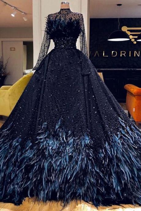 black prom dresses, feather prom dresses, new arrival prom dresses, sexy prom dress, long sleeve prom dress, fashion party dress, beaded evening dresses, detachable skirt prom dresses, evening gowns