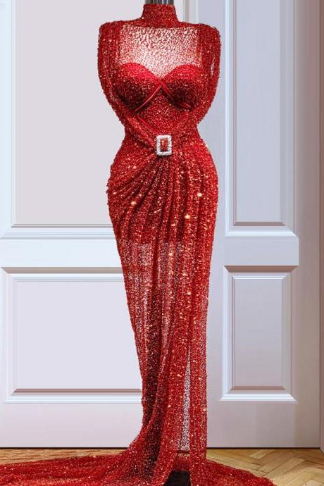 sequins prom dresses, high neck prom dresses, beaded prom dresses, red prom dresses, fashion evening dresses, mermaid prom dresses, shinning prom dresses, arabic prom dresses, vestidos de fiesta, 2021 prom dress