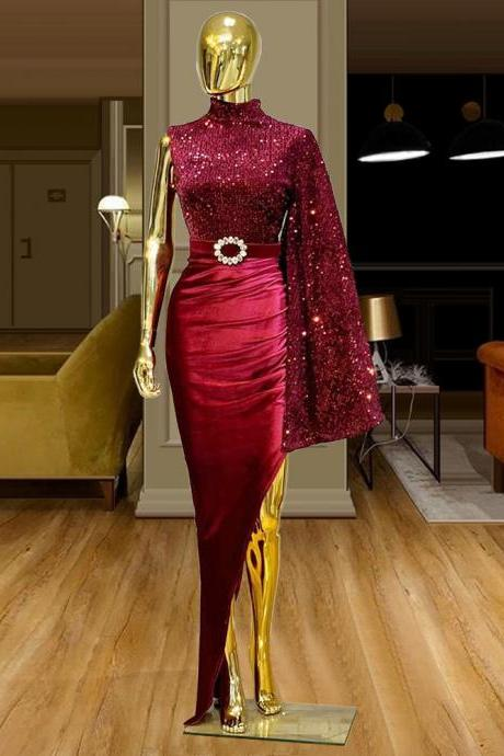 red prom dresses, one shoulder prom dresses, mermaid prom dresses, custom make prom dresses, fashion prom dresses, red evening gowns, sequins prom dresses, 2021 prom dresses, sequins evening gowns