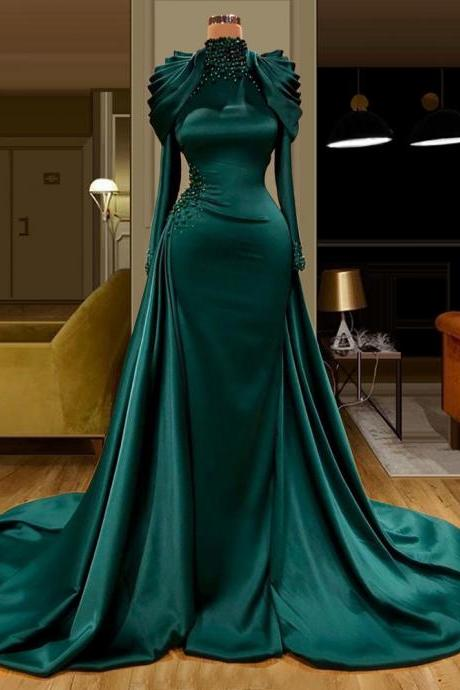 green prom dresses, 2021 prom dresses, high neck prom dresses, mermaid prom dresses, satin evening dresses, long evening dresses long sleeve evening dresses, mermaid formal dresses, cheap evening dresses